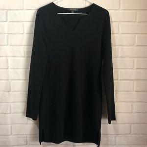 Brooks Brothers Black Merino Wool Midi Dress